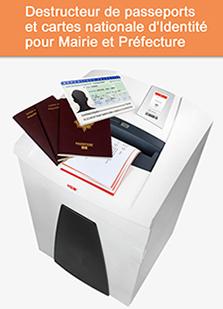Destructeur de passeports et carte nationale d'identité pour maire et préfecture